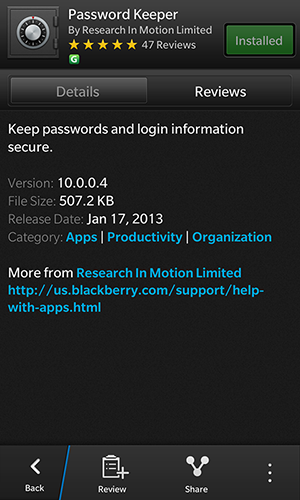 Password Keeper cho BlackBerry 10